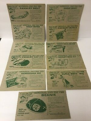 1956 Rin Tin Tin Trading Post 11 Different Cereal Nabisco Cards