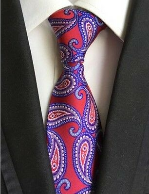 GIFTS FOR MEN Classic Floral Paisley Mens Flower Silk Necktie Tie Red Blue White