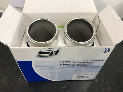 New Genuine Volkswagen Tail Silencer Trim Twin Pipe 2 x 76 mm Chrome 5C5071911C