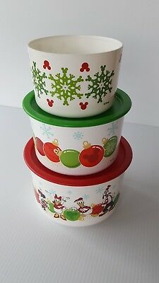 Tupperware Disney Mickey and Friends Christmas Cookie Container Canister Set