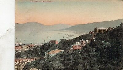 A VIEW OF VICTORIA CITY AND THE HARBOR  HONG KONG  postally used 1926 stamp miss