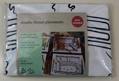 Eat Sleep Doodle Set Of 4 Monet Placemats Pens Included BNIB Dining Activities