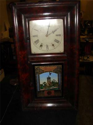 V020 Antique American Wall Clock by Cennecticut Clock Company with pendulum sorr