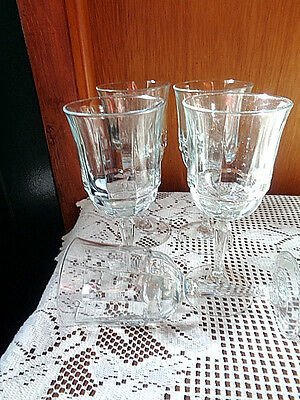 """BARWARE Fostoria Crystal Clear Glass 5 Wine Glasses With Beveled Glass 8"""" Tall"""