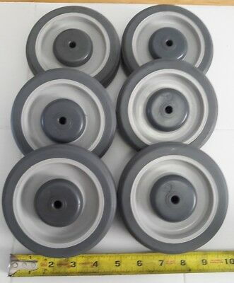"""Set 6 Gray Soft Rubber 5"""" x 1-1/4"""" Shopping Cart Wheel with 5/16"""" ID Center hole"""