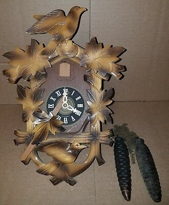 Vintage Wooden Cuckoo Clock West Germany Moving Birds - Pinecone Weights