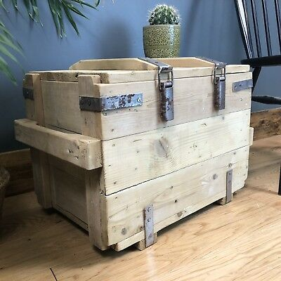 Vintage Industrial Wooden Pine Trunk Chest Box Ottoman Coffee Table Rustic