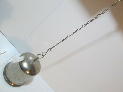 Large Silver finish Tibetan style bell on chain.