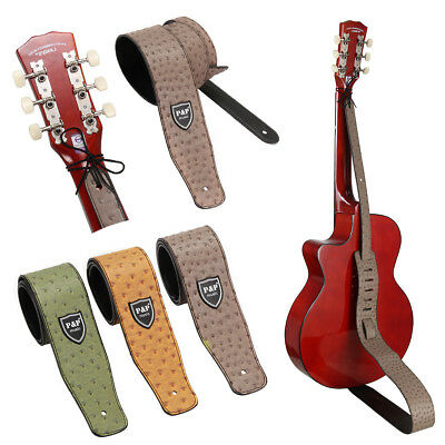 Ostrich Grain PU Leather Adjustable Guitar Strap Electric Acoustic Bass