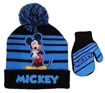 Disney Mickey Mouse Striped Winter Beanie Hat and Mitten Set - Size Boys 2-5 16a4ff09eb51