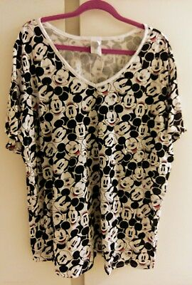 NEW! Disney by Jerry Leigh Black & White Mickey Mouse Size 3XL V Neck T Shirt