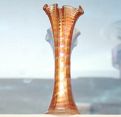 """Imperial Glass Company Ripple/Wave pattern Carnival Glass Vase in Marigold 8.5"""""""