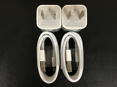 2X OEM Apple iPhone 8 7 6 6s 5 5S Charger Data Lighting Cable Original Genuine