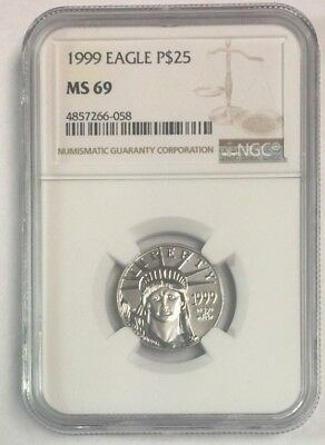 1999 Platinum $25 Eagle 1/4 oz .9999 Plat. MS 69 NGC SKU#11085