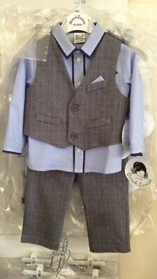 BNWT Sarah Louise Boys 4year 3 Piece Suit Outfit
