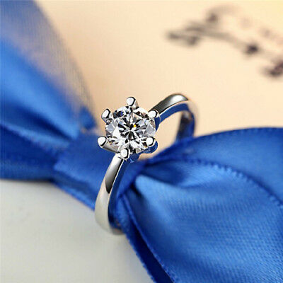 Ladies Claw Cubic Zirconia Silver Engagement Wedding Solitaire Ring LH
