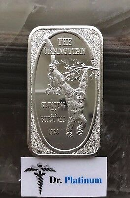 USSC, 1974 The Orangutan, 1 oz 999 Silver Art Bar - DPSAB26