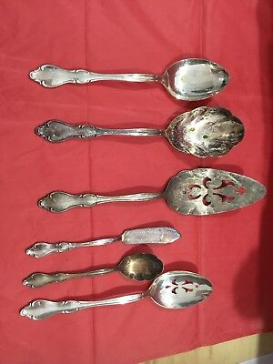SET/LOT of (6) VINTAGE International Silverplate Serving Pieces Antique