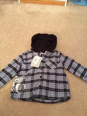 NWT Baby Boy Hooded Plaid Flannel Shirt Size 18 Months Blue