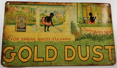 Gold Dust Twins Babies Spring Cleaning House Black Americana Heavy Metal Ad Sign