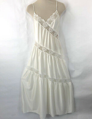 Vtg Womens Nightgown Long Ivory Lace S Negligee Sheer Nylon Asymmetrical