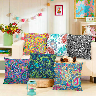 Paisley Printed Ethnic Cushion Covers Vintage Bohemian Pillow Case Sofa Decor