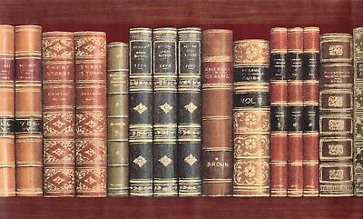 Victorian Classic History Antique Books Library Bookshelf Wallpaper Border Decor