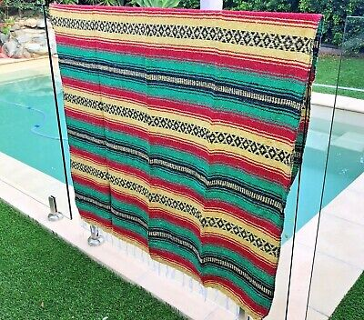 NEW Rasta Red Gree Mexican Blanket Serape Throw, Mexican Yoga Boho Falsa Blanket