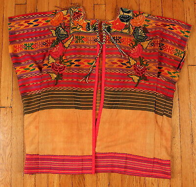 Vintage 60s 70s Guatemalan Huipil Poncho Top Shirt Embroidered Ethnic HiPPiE