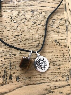 Tigers eye natural stone with Lion Aslan black suede necklace