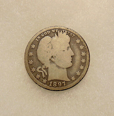 "1897-O Barber Quarter - Scarce ""Key"" Date - Nice Looking Coin - FREE SHIPPING"