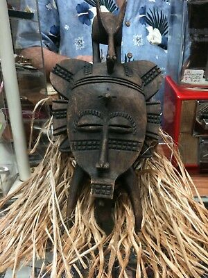 African Mask Total Length 29 Inches Wood Cowery Shells Raffia