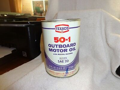 Vintage Texaco Outboard Motor Oil SAE 20 with Royal Guard