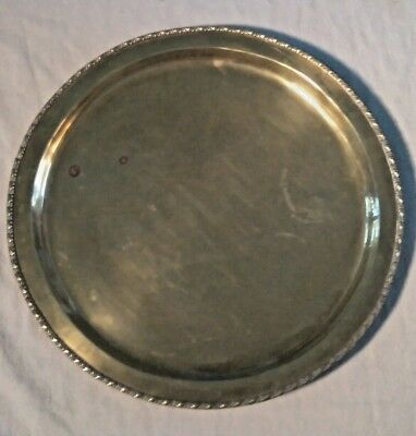 Antique Round Ornate Solid Brass  Tray Vintage Serving Plate Platter 39cm INDIA