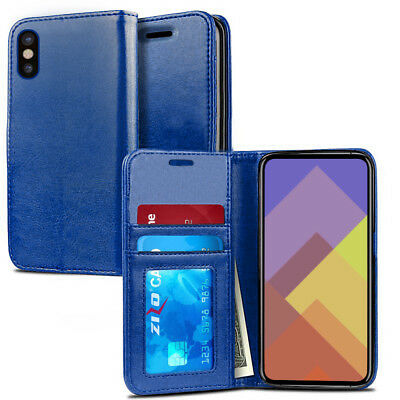 iPhone X / XS / XS Max / XR Case, ZV Magnetic Flap Wallet Pouch with Card Holder