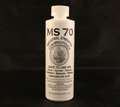 MS70 COIN CLEANER + BRIGHTENER - GOLD + SILVER + NICKEL + COPPER - 8 oz. BOTTLE