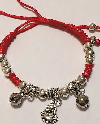 Feng Shui Happy Buddha Amulet LUCKY Silver Adjustable Red Rope Bracelet