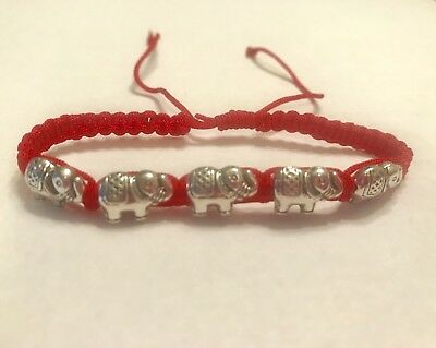 Feng Shui Amulet LUCKY Silver Elephant Adjustable Red Rope Bracelet