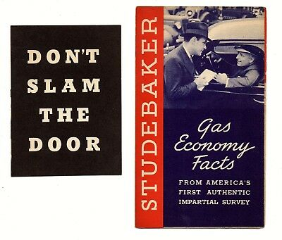 Auto dealership advertising brochure STUDEBAKER Gas Economy/Don't Slam Door 1937