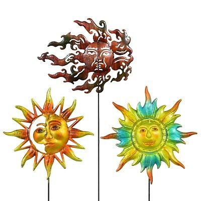 "Garden Collection Iron Sun Face Garden Stakes 24"" Yard Ornament Decor Free Ship"