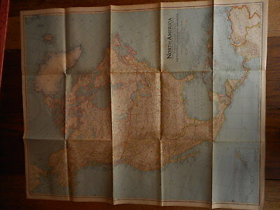 1942 North America National Geographic Vintage Map Folded Flea Market Decorating