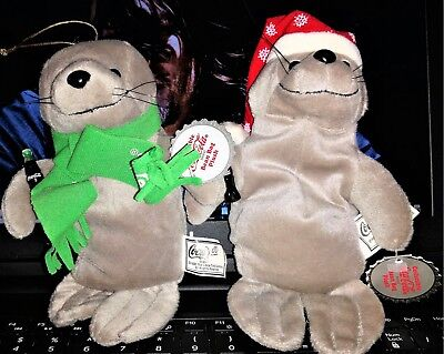 Coca Cola Bean Bag Plush Lot of 2 Seal in Snowflake Cup/Seal with Green Scarf