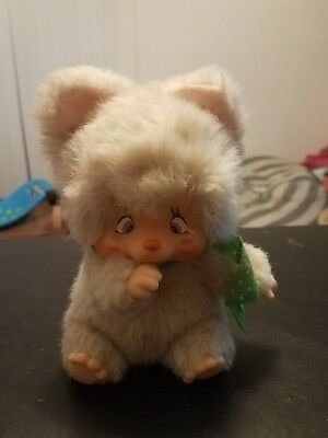 1979 MONCHICHI Nyamy Cat Doll  OFF WHITE CREAM Washino Corp Japan thumb sucker
