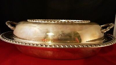 "Vtg English Silver Mfg Corp. 202S  Serving Oval Bowl with cover USA 11x8.5x3.5""h"