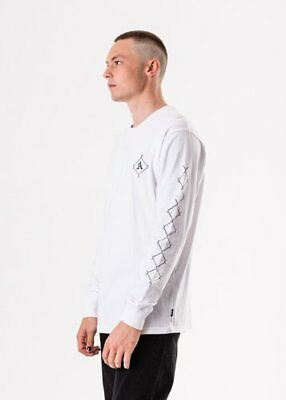 New Men's Afends Get Free Retro Fit Long Sleeve Tee Shirt Top White