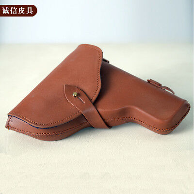 Chinese PLA Type 92 Pistol Holster with Ammo Pouch 2 Cells Genuine Leather 9mm