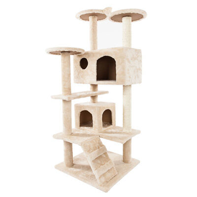 """New 52"""" Cat Tree Tower Condo Furniture Scratch Post Kitty Pet House Play Beige"""