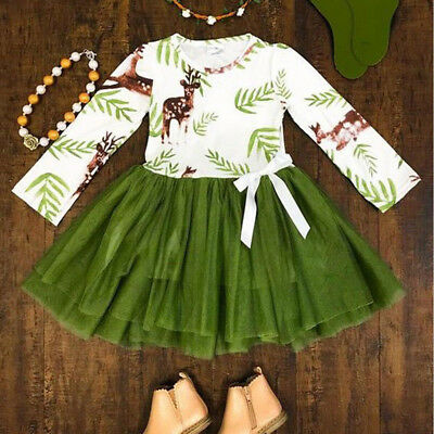 Fashion Toddler Kids Baby Girl Christmas Elk Lace Princess Pageant Dresses 2-7 T