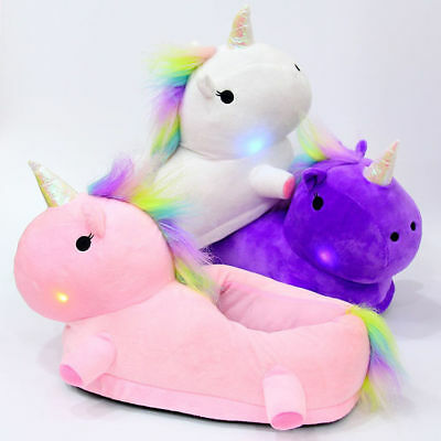 Womens Girls Novelty 3D Character LED Light Up Plush Unicorn Slippers Mens Shoes