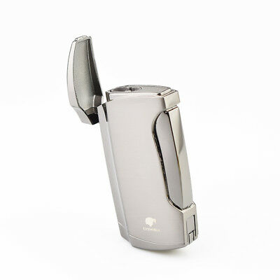New Double Torch Jet Flame Lighter COHIBA Gas Lighter Gray Color